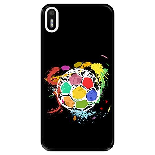 Hapdey Funda Negra para [ Bq Aquaris X5 ] diseño [ Balón de fútbol Abstracto, Multicolor ] Carcasa Silicona Flexible TPU