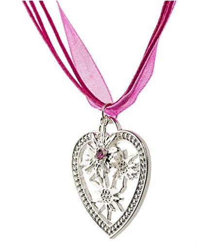 Trachtenkette Wiesn-Charm - eleganter Herz und kleiner Edelweiss Anhänger mit Strass - Trachtenschmuck Kette für Dirndl und Lederhose (Pink)