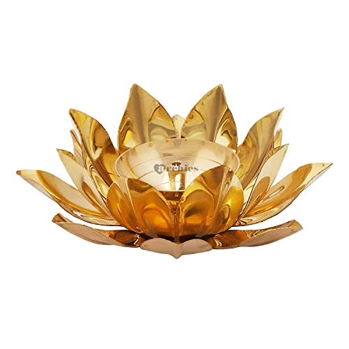 Archies Handcrafted Brass Metal Indian Pooja Oil Lamp Diyas with Engraved Art (3 X 3 X 1.5 Inch, Lotus Flower Design) (15.5X15X5.5 cm) (Design 7)