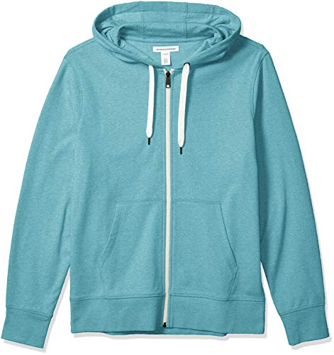 Amazon Essentials Lightweight French Terry Full-Zip Hooded Sweatshirt Fashion-Hoodies, Blaugrün, US M (EU M)