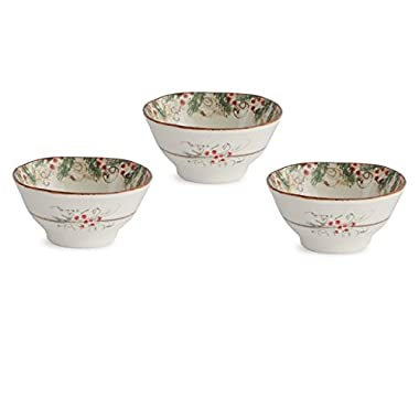 Arte Italica Natale Dipping Bowl Set, Cream