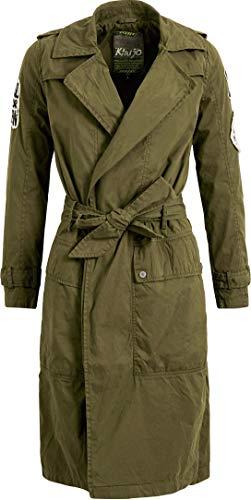 Khujo Damesmantel Tarragona met patches zomerjas met binnenvoering trenchcoat met riem