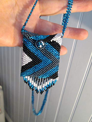 blue white black silver peyote zig zag geometric Hand beaded Guatemalan central american Native medicine bag stash pouch necklace fair trade southwest glass beads Aztec Indian design Ethnic bead