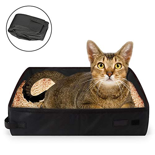 kathson Collapsible Portable Litter Box for Cat, Foldable Travel Light Weight Toilet Tray Carrier for Small Cats Kitty-Black
