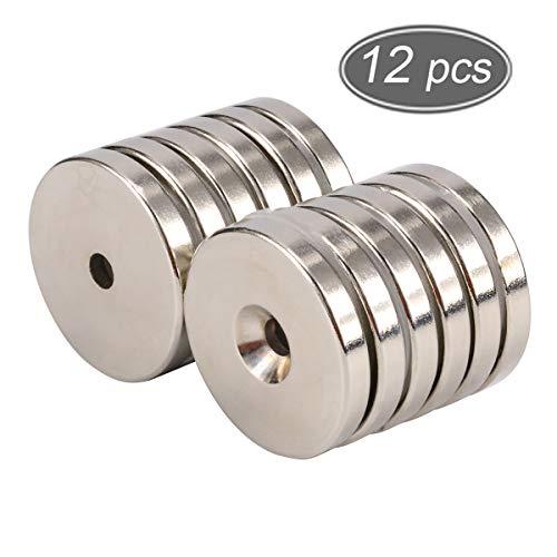 Neodym Magnet 12 Stück Tacktimes Disc Senkkopf Loch Magnete Ringmagnete starker Rare Earth Magnet Runde Basis Neodym Senkloch Magnet mit 12 Schrauben für Handwerk 32mm x 5mm
