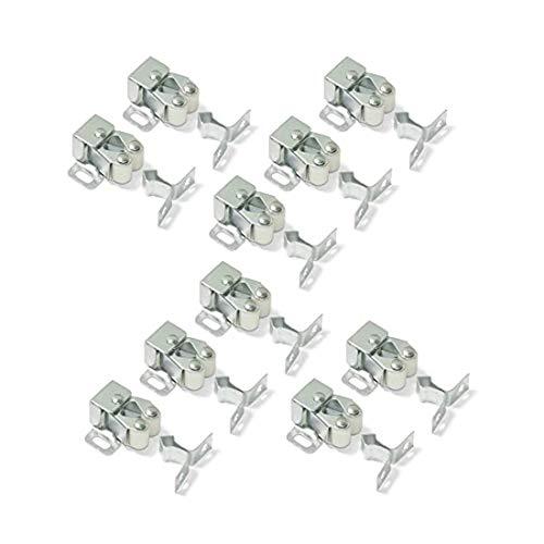 Emuca 1275505 Cierres de doble rodillo para puerta de mueble, Set de 10 piezas