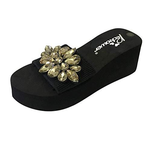 Sandales de Plage Femme,Honestyi Chaussures Compensées Escarpins Strass Tongs Bout Ouvert Sandales à Talons Hauts Shoes Ete de Plage Chaussures Plateforme
