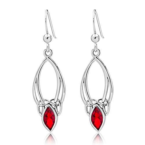 DTP Silver – Pendientes Colgantes de Plata 925 con Gancho - Nudo de la Trinidad Celta - Colección Celta – Rojo Rubí