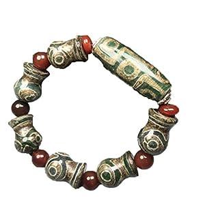 ZHIBO Armband, tibetisch, alter Achat, Vase, Dzi Perlen