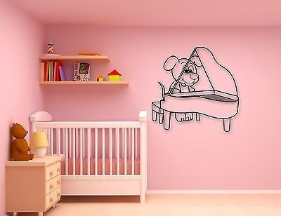 Wall Stickers Vinyl Decal Cute Puppy Dog Piano Music for Kids Room Pets VS19