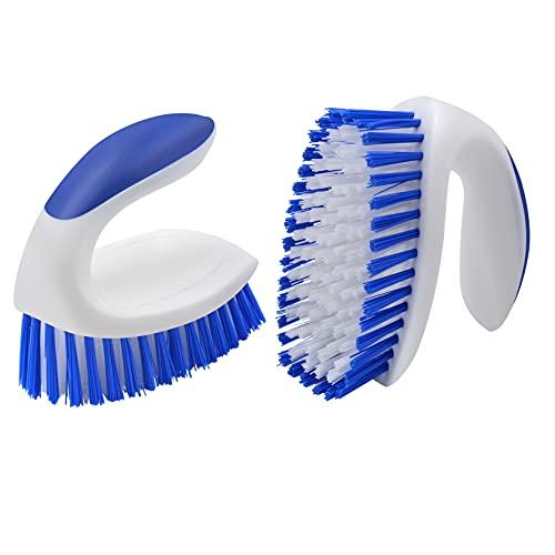 2 Pack Scrub Brush with Comfortable Grip,BITOPE Stiff Bristles Scrubbing Cleaning Brushes, Heavy Duty Scrub Brush Set for Bathub, Tile, Sink, Carpet, Bathroom, Kitchen