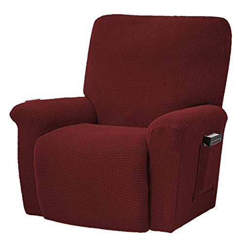 Stootrel Sesselschoner Relaxsessel Bezüge Samt Elastische 4-teiliges Set Sesselschoner für Fernsehsessel Relaxsessel für Liege Sessel, Schaukelstuhl, Relaxstuhl, Recliner Sessel (Color : Color 20)