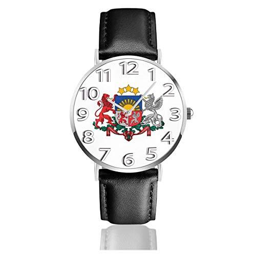 腕時計 ラトビアモンスタースターバッジフラグ ウオッチ クラシック カジュアル 防水 クォーツムーブメント レザー ベルトビジネス オフィス 学校 人気 メンズ レディース 男女兼用
