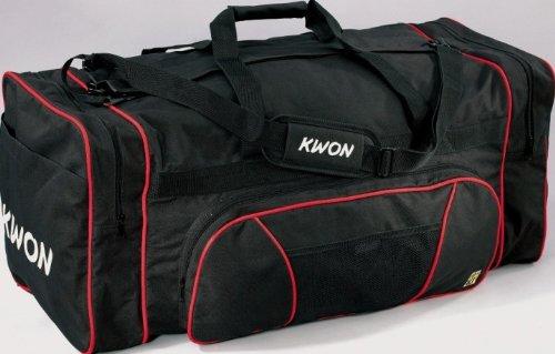 KWON CLUB LINE Sporttasche X-Large, schwarz mit weißen Logos, Maße ca. 79 x 35 x 35cm