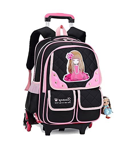 Incluye funda para la lluvia con ruedas, mochila escolar para niños, adolescentes, niñas, primaria, princesa, color negro, 32 x 20 x 44 cm