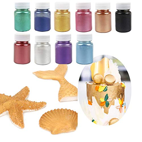 Edible Luster Dust - Baking decoration powder & Dust Food-Grade Luster Dust Gold Powder for Cake Fondant - Chocolate Decoration Flash Glitter Powder Baking Color Dust 10PCS