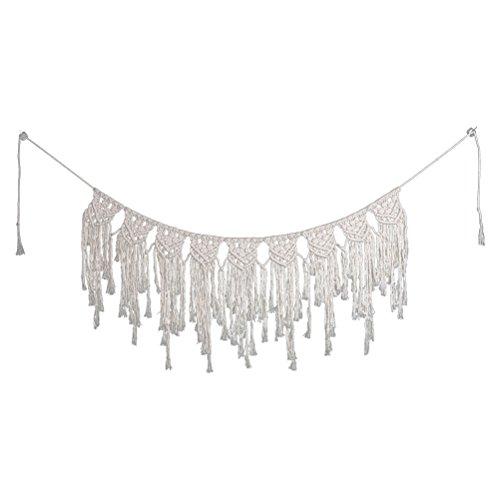 VOSAREA Makramee Wandbehang Handgemachte Vorhang Fadenvorhang Baumwolle für Hochzeit Wohnzimmer Tür Deko 100 x 40cm (Beige)