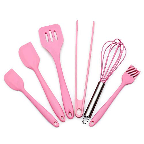 Feleph Silicone Pink Kitchen Utensil Set 6 Piece Cooking Utensils Accessories 2 Sizes Spatula Tongs Whisk Pastry Brush Slotted Turner Heat Resistant Baking Supplies