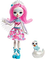 ​This adorable 6 inch enchantimals doll and her animal-bestie are inspired by the world of enchantimals, a magical place nestled deep in nature ​Saffi Swan doll wears a unique outfit to reflect her peaceful personality: A pink bodice with a heart-sha...