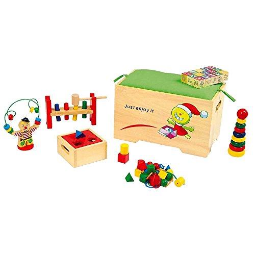 Coffre à jouets en bois garni complet : 6 jeux de motricité dans un grand coffre en bois avec assise amovible & coussin
