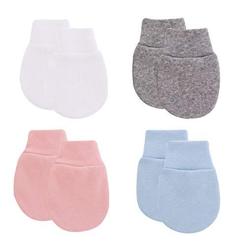 Newborn Mittens for Baby Boys Girls Infant Cotton Gloves No Scratch Mitten 0-6Months (4 pack:Grey/White/Pink/Light blue, 0-6M)