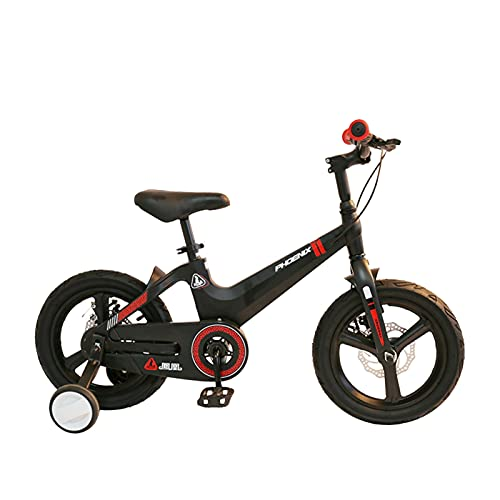 Axdwfd Kids Bike 14/16 Inch High Carbon Steel Children's Bicycle with Training Wheel Gift for 3-8 Years Old Boys and Girls Bicycle (Color : Black, Size : 16in)