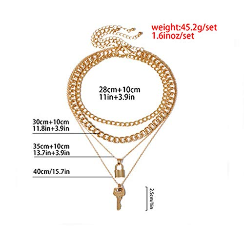 fxmimior 4 Tier Gold Key and lock Punk Choker Handmade Layered Bar Party Wedding Necklace Jewelry For Women