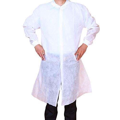 Cleaing Disposable Lab Coats for Adult 10 Pack, Large, Knitted Collar and Cuffs, White