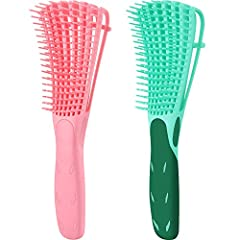 You will get: 2 pieces detangling flex brushes, easily detangle matted hair, good for curly, wavy, long and thick hair, etc. Good design: the hair brush is designed with a non-slip and comfortable rubber grip, helping you to hold it tightly; It can h...