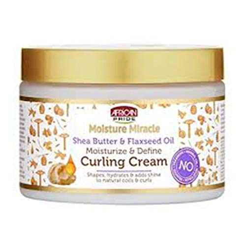 African Pride Moisture Miracle Shea Butter & Flaxseed Oil Curling Cream - Shapes, Hydrates & Adds Shine to Natural Coils & Curls, Moisturizes & Defines Hair, 12 oz