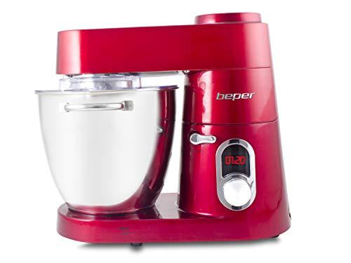 Beper 1200W-7L Impastatrice Professionale, 1200 W, 7 Litri, Metallo, Rosso