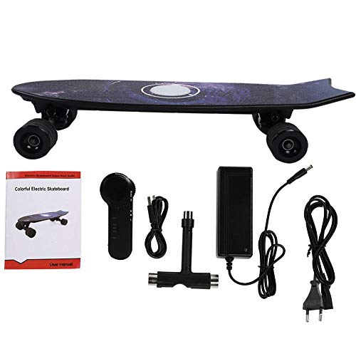 Qii lu Elektrisch skateboard, H2E 4 wielen, elektrisch skateboard hub motor afstandsbediening, longboard scooter voor volwassenen en kinderen. zwart.