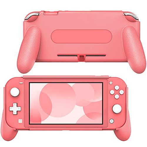 MoKo Griff Halterung Hülle Kompatibel mit Nintendo Switch Lite, Ergonomische Bequeme Stoßfeste Schutzhülle mit Griff, Rosa Koralle