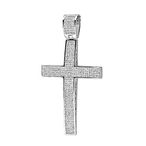 ctw Dazzlingrock Collection 0.50 Carat Sterling Silver Blue,White /& Yellow Diamond Mens Hip Hop Religious Cross Pendant