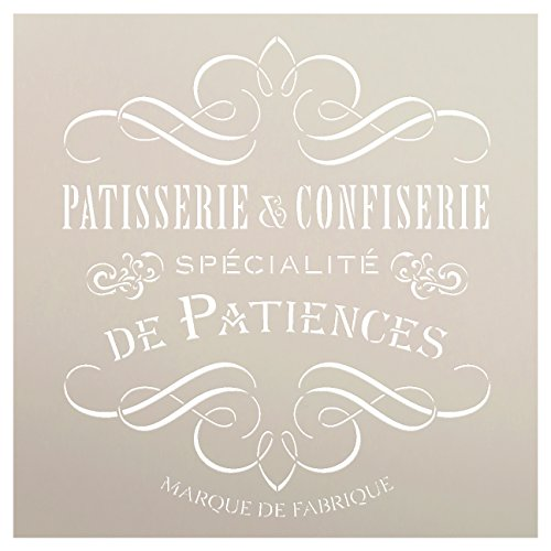 Vintage French Bakery Stencil by StudioR12   Patisserie and Confiseri Word Art - Reusable Mylar Template   For Painting Wood Signs   Chalk Paint Furniture Stenciling Large Sizes Available- Select Size