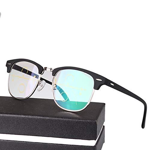 QAQA Gleitsicht Lesebrille, Progressive Multifokus Lesebrille Unisex mit, Schwarz, Lesen Sonnenbrille, Portable (Size : +3.0)