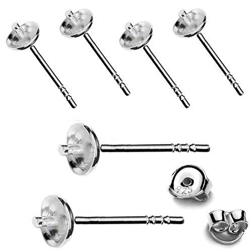 My-Bead 3 paia orecchini a perno con piatto Argento 925 senza nichel 14mm per gemme e perle Alta qualità da gioielliere DIY