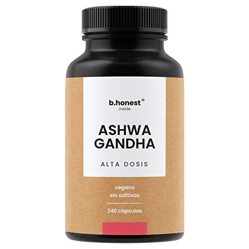 Ashwagandha - 240 cápsulas, alta dosis con 1950 mg por dosis diaria (650 mg por cápsula) - Bufera india - Producto vegano, probado en laboratorio y fabricado en Alemania