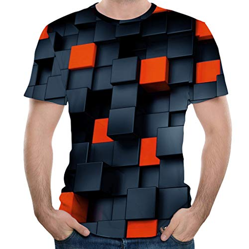 Fannyfuny Paar 3D Blumendruck T-Shirt Herren Rundhals Gitter Mode Persönlichkeit Tee Sport, Beiläufige Fitness Casual Oversize Slim Fit Tops für Party Reisen Tanzparty Club Shirt