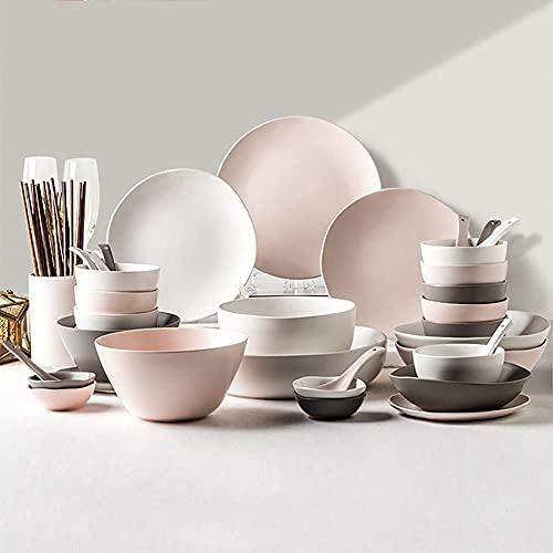 HGJINFANF Conjuntos de Cena de cerámica, 46 PCS Simple Style Style Combinación de Porcelana Set-tazón/Plato/Cuchara | Three Color Series Weaverware for la reunión Familiar.