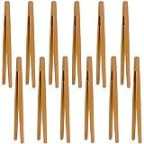 Pinze di bambù,12 Pcs Pinze legno cucina Pinza in legno di bambù Pinze da cucina in bambù Pinza alimentare in bambù,per Cucinare, Pane, Tè Alla Frutta