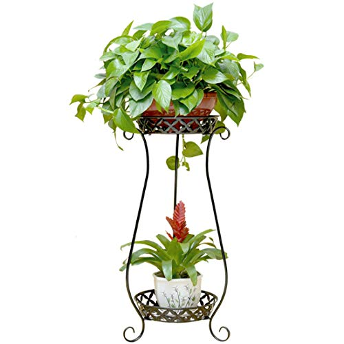 Seciie Etagère à Fleurs 2 Niveau en Métal, Support de Pot de Fleurs Plant Stand Affichage en Intérieur Extérieur Salon Jardin Bureau Décoratif