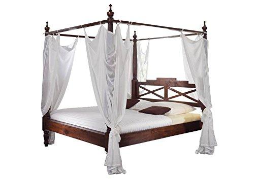 Supply24 Designer Massivholz Himmelbett Farbe Nougat traumhaftes Klassik Stil Bett inkl. weißer Stoff Himmel Traumbett Akazie Holzbett günstig (180x200 cm)