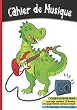 Cahier de Musique 21x29,7: cm   Partitions 12 portées   Grands Carreaux Seyès pour solfège et chant   108 pages - Enfant, dinosaure, guitare