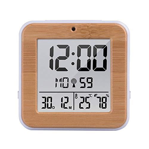 Xfc Dubbele Alarm Klok Digitale Weerstand, Hout Graan Elektronische Alarm Klok Temperatuur Hygrometer Snooze Functie Backlight Desktop Klok