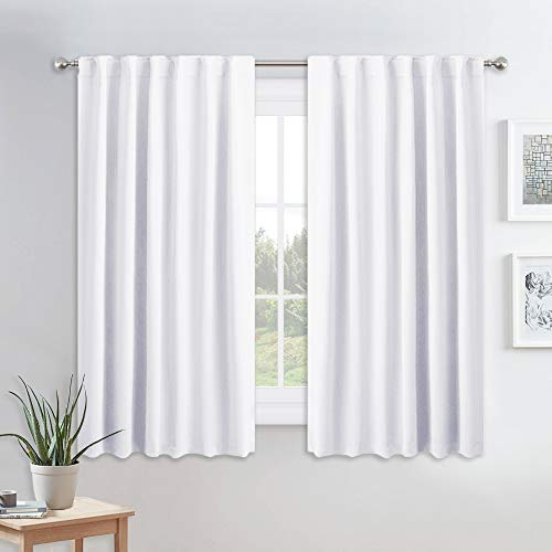 PONY DANCE White Window Curtains - Short Drapes Light Block Drapes with Back Tabs & Rod Pocket Design Thermal Insulated Panels for Decoration, 52 W x 45 L, Pure White, 2 Pieces