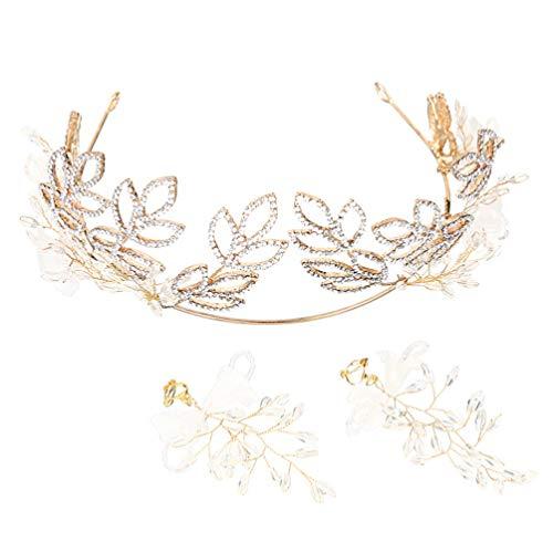 Lurrose Corona de Diamantes de Imitación con Pendientes Tiara Vintage Hojas Huecas...