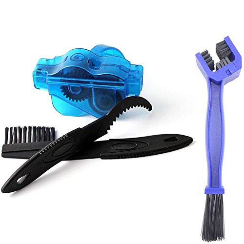 Someamy Aparato para Limpiar Cadenas de Bicicleta Limpiador Herramienta+3 Cepillos de Limpieza para Cadena de Bici(azul)