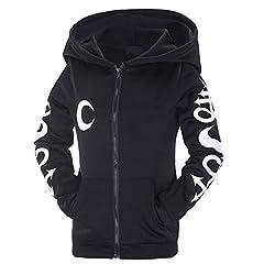 VERYCO Women Hoodie Jacket Gothic Casual Hooded Zip Up Long Sleeve Sweatshirt Top (Black (Print), UK 12 / Tag XL) #3