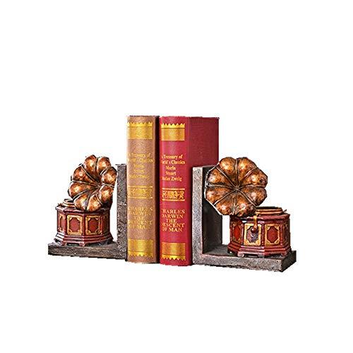 Madeinely Boekensteunen, 1 paar, vintage-platenspeler-decoratie, kantoorbibliotheek, boeken, films, tijdschriften, videogames voor kantoor en school